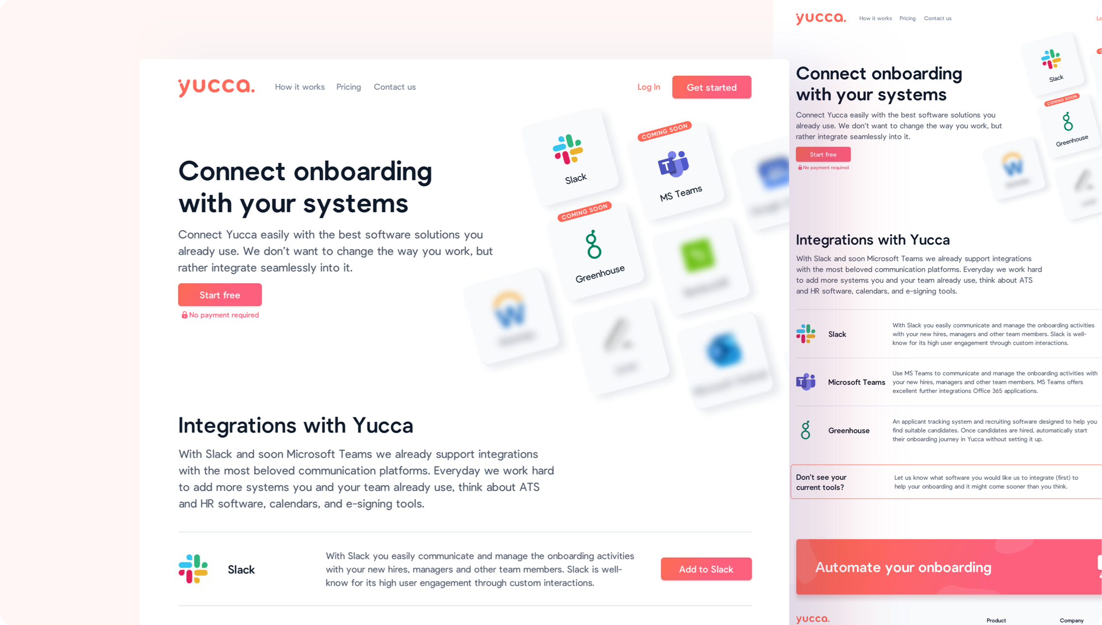 On this page users get an overview of all the integrations yucca offers.