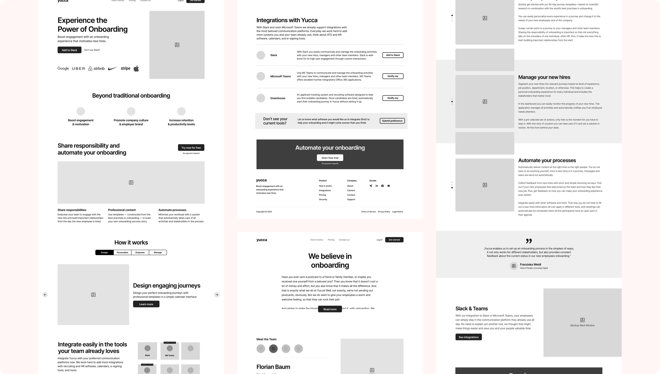 The concept and wireframes I made before starting with the design process.